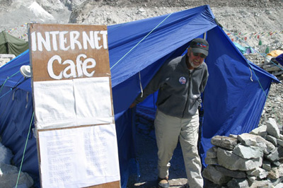 Bob Hoffman, expedition leader of the American Commenmorative Everest Expedition, pays a visit to the cyber cafe.